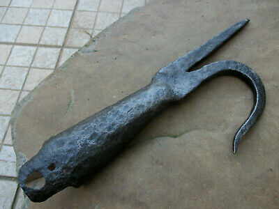 ANTIQUE 1800s WROUGHT BLACKSMITH ENORMOUS FIREFIGHTER HOOK RARE OLD FIREMAN TOOL
