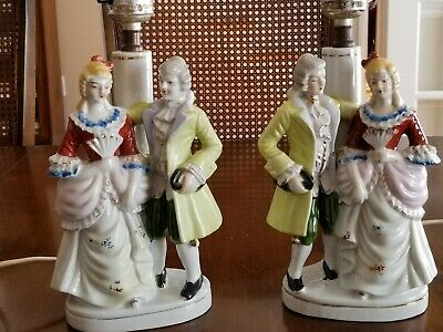 Pair of Matching Vintage Figural Figurine Lamps Victorian Couples