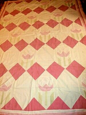 """Vintage Tulip pattern quilt top 80"""" x 101"""" Large very pretty for Spring"""