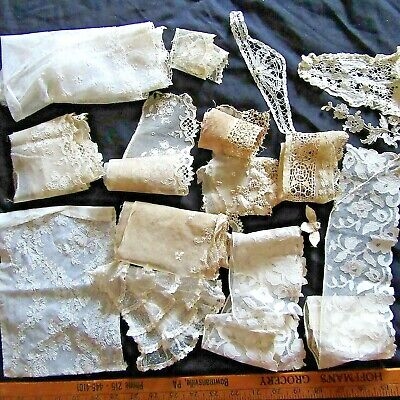 Antique Net LACE LOT Jabot Alencon EMBROIDERED Flounce FRENCH TULLE DOLLS TRIM
