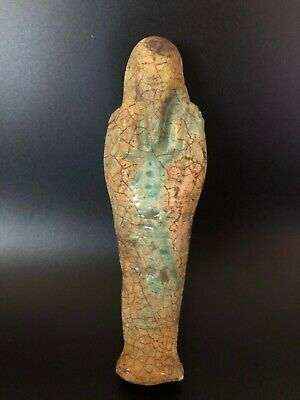 RARE EGYPTIAN ANTIQUE EGYPT Statue Ushabti Shabti Carved Faience Stone 2430 BCE