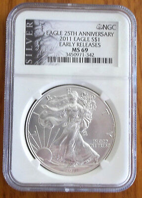 2011 Early Release SILVER EAGLE NGC MS69 BLACK AMERICAN LIBERTY SERIES LABEL ALS