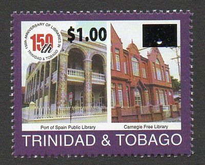 Trinidad & Tobago New $1 Overprint ovpt on Library MNH