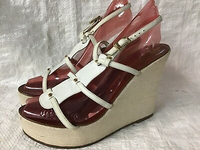 e245fe24b9a3 Juicy Couture White Leather Ankle Strap Wedge Platform Sandals Shoes Sz 7.5  M