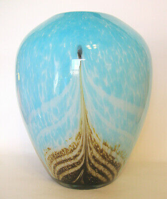 Studio Art Cased Glass Vase Hand Blown Blue and Tan Feather 11 to 12 Inches