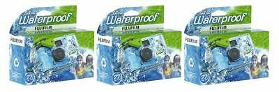 Fujifilm Quick Snap Waterproof 27exp 35mm Camera 800 film,Blue/Green/white,3Pack