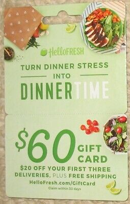 Hello Fresh $60 gift card family dinner voucher number included; free shipping