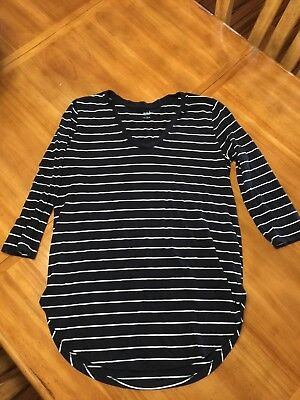88b2649bb82 A.N.A. STRIPED TOP Sz M Pink with Gray Stripes Balloon Sleeves with ...