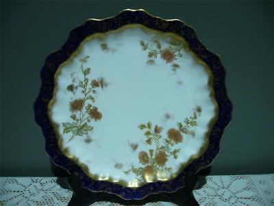 Antique Floral Plate - Cobalt Border - Richly Gilt Chrysanthemums - Collectable