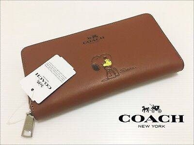 Coach X Snoopy Peanuts Brown Leather Women's Wallet F53773 with Gift Receipt!