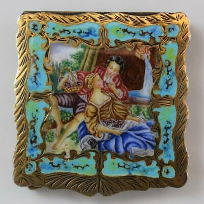 C1910 Italian 800 Silver & Guilloche Enamel Ladies Compact Courting Couple