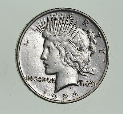 Early - 1924 - Peace Silver Dollar - 90% US Coin *589