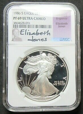 1986-S Proof American Eagle Elizbeth Jones 1 Oz Silver Dollar Pf 69 Ultra Cameo