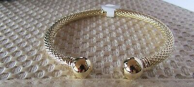 14K Pretty Yellow Gold Polished Open Cuff Bangle with 2 balls hammered 9.5 grams