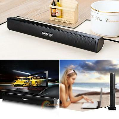 3W USB Soundbar Stereo Speakers TV Computer Desktop Laptop Home Theater Music
