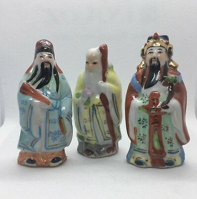 3 Asian Gods Figurines! glazed bisque figurines