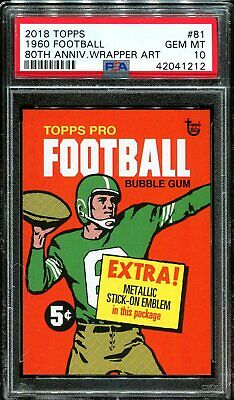 2018 Topps 80th Anniversary Wrapper Art #81 ~ 1960 Football /299 ~ PSA 10 GEM