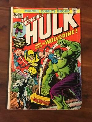 Incredible Hulk #181 1st app Wolverine missing centerfold & MVS 1974 pics in des