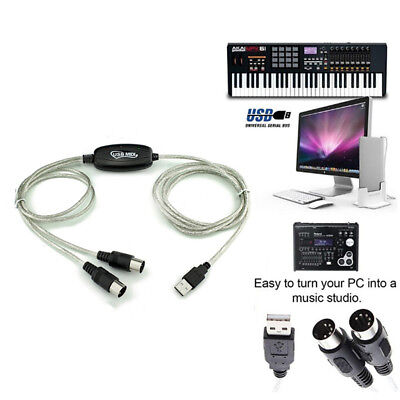 USB IN-OUT MIDI Interface Cable Converter PC to Music Keyboard Adapter Cord FT