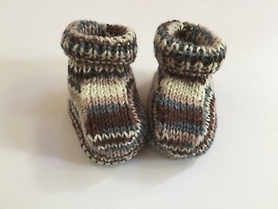 Baby Booties Multi colour Pure wool Gift Shower boy or girl Handknitted