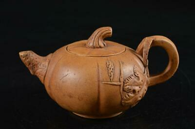 G8033: Chinese Brown pottery Leaf sculpture Shapely TEAPOT Kyusu Sencha