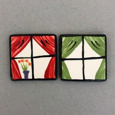 CERAMIC WINDOWS x2 - Red and Green Curtains - 45mm ~ Mosaic Inserts, Art, Cra...