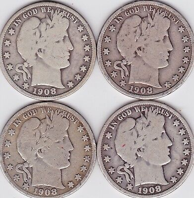 1908 P ,D, S , & O BARBER HALF DOLLARS in VERY GOOD condition ( 4 COINS )stk zz