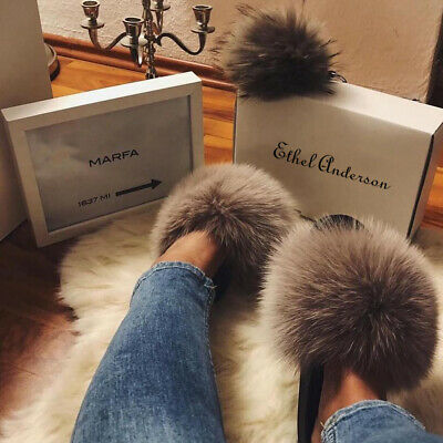 Chic Real Plush Fox Fur Slipper Luxury Indoor Outdoor Slides Fur Shoes Wholesale