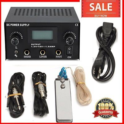 Tattoo Power Supply Digital LCD Dual Machine Foot Pedal Switch 2 Clip Cords M⊕