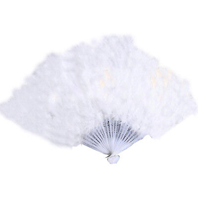1*Vintage Feather Folding Hand Fan For Dance Props Party Birthday Fan NT5C
