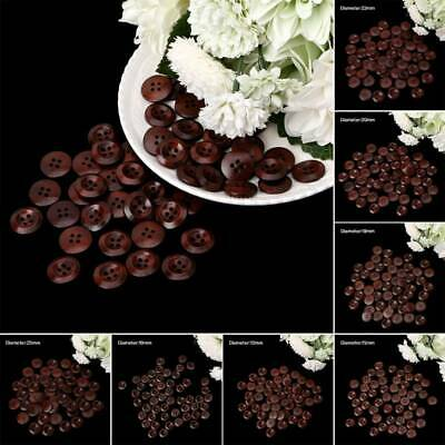 50PCs Wood Sewing Scrapbooking Buttons 4 Holes Round Dark Brown 10-25mm