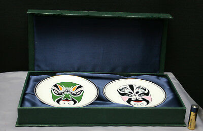 Dramatic Vintage Chinese Hand Painted Porcelain Display Cabinet Plates Boxed