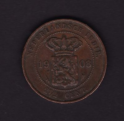 Netherlands Indies 2 1/2 Cent 1908 Coin