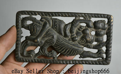 12cm Rare Antique Old Chinese Bronze Dynasty People Beast Pendant Brand