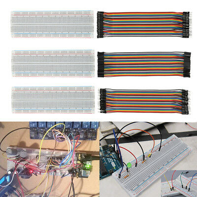 6pcs Dupont Cable Jumper Wire 20cm FM F-F M-M + MB-102 830 Point Breadboard Tool
