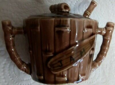 Vintage Jam Jar with Spoon Bamboo Design Retro Japan Excellent Condition