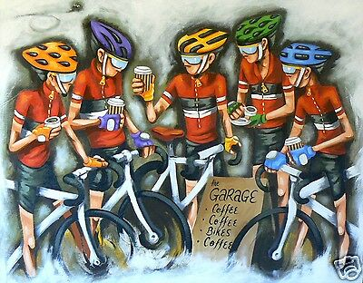 sport Cycling bikes art painting print poster canvas andy baker COA