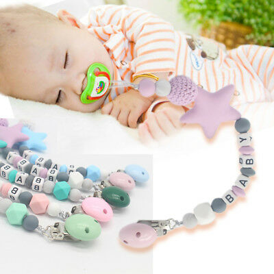 UK Baby Silicone Teething Soother Dummy Clip Pacifier Chain (Don't Personalize)