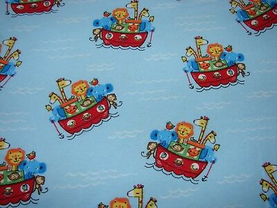 Flannelette Blue Fitted Noah's Ark Cot Sheet Handmade