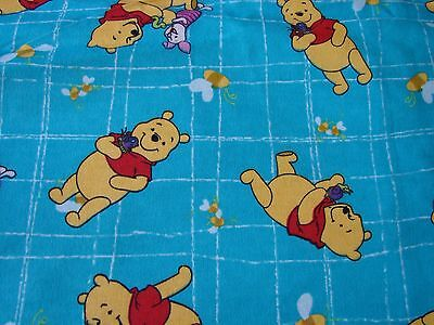 Flannelette Fitted Blue Pooh & Friends Cot Sheet Handmade