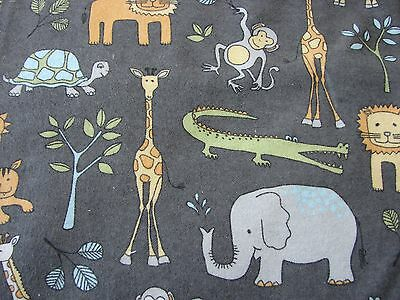 Flannelette Fitted Forest Animals Grey Cot Sheet Handmade