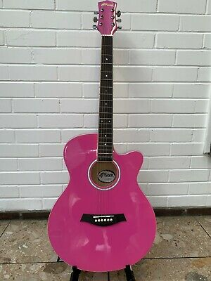 B-Grade Tiger Acoustic Guitar for Students - Pink