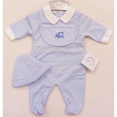 baby boy train sleepsuit bib hat outfit new born 0-3 months gift shower new