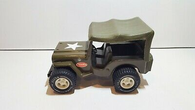 Vintage Tonka US Army Jeep w. canopy 1970-80's tin plate pressed steel v.good co