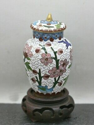 Charming Vintage Chinese Handmade Cloisonne Lidded Pot Wooden Stand