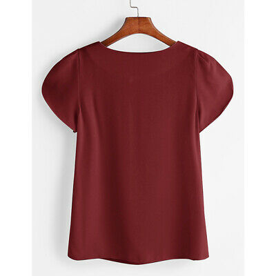 Womens Plain T Shirt Ladies Short Sleeve Casual Workwear Blouse Top Tee 8C
