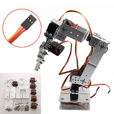 For Arduino-Silver ROT2U 6DOF Aluminium Robot Arm Clamp Claw Mount Kit w/Servos