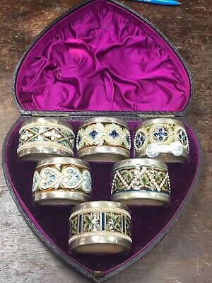 Unusual  Set Of 6 Victorian Royal Doulton Stoneware Napkin Rings In Heart Box