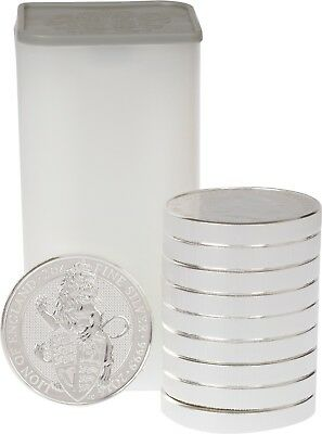 2016 Great Britain England 2 Oz Silver Lion Queen's Beast Coin Roll Of 10 Coins
