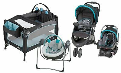 Baby Stroller with Car Seat Playard Infant Glider Swing Travel System Combo Set